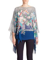 Roberto Cavalli Printed Silk Caftan Top multicolor - Lyst