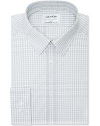 Calvin Klein Steel Non-iron Slim-fit Grey Check Performance Dress Shirt - Lyst