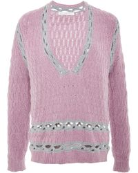 Thakoon Addition Lavender Marled Crochet Trim Pullover - Lyst