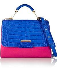 Emilio Pucci Color-Block Croc-Effect Leather And Suede Shoulder Bag - Lyst
