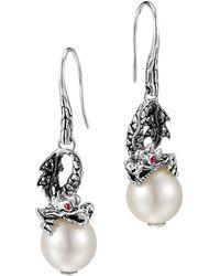 John Hardy Naga Silver Dragon Drop Earrings with Pearl  Black Sapphire - Lyst
