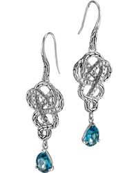 John Hardy Batu Classic Chain Silver Drop Braided Earrings with London Blue Topaz - Lyst