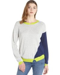 Jamison Grey And Navy Wool-Cashmere Blend Colorblock Long Sleeve Sweater - Lyst