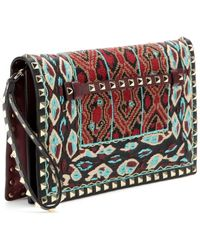 Valentino Rockstud Embroidered and Beadembellished Leather Clutch - Lyst