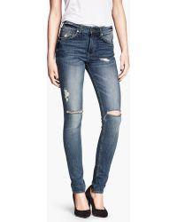 H&M Skinny High Jeans - Lyst