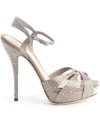 Gucci Taupe Satin And Suede Beaded Detail Strappy Sandals - Lyst