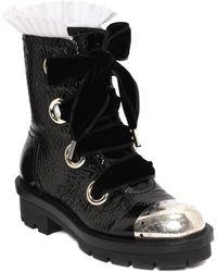 Alexander McQueen Popeline Pleated Metal Toe Cap Biker Boot - Lyst