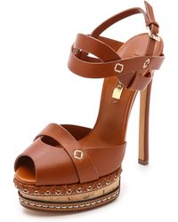 Casadei Leather & Cork Heels - Brown - Lyst