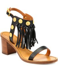 Valentino Studded Leather Fringe Sandals - Lyst