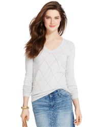 Tommy Hilfiger Pointelle-Knit Argyle Sweater - Lyst
