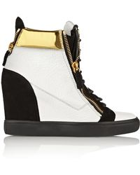 Giuseppe Zanotti Metallic Leather and Suede Wedge Sneakers - Lyst