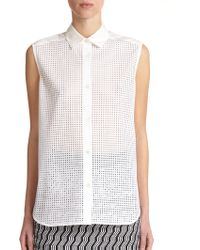 Tess Giberson Perforated Button-Down Blouse - Lyst