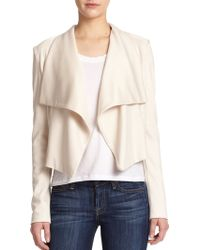 Alice + Olivia Cory Draped Leather-Detail Jacket beige - Lyst