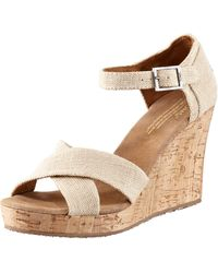 Toms Cork Wedge Sandal - Lyst