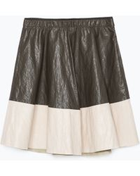 Zara Faux Leather Combination Skirt - Lyst