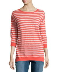 Halston Heritage Striped Bracelet-Sleeve Sweater - Lyst