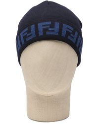 Fendi Blue and Iron Knit Wool Cap - Lyst