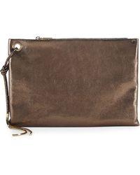 Lanvin Metallic Leather Clutch Bag - Lyst