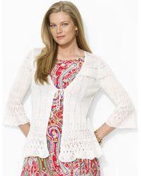 Lauren by Ralph Lauren Pointelle Knit Linen Sweater - Lyst