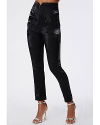 Missguided Hilliary Metallic High Waisted Tailored Trousers Black - Lyst