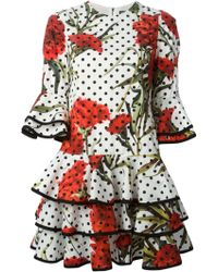 Dolce & Gabbana Multi Print Ruffled Dress - Lyst