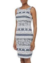 Muse Sleeveless Lace Contrast Sheath Dress - Lyst