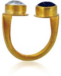 Maya Magal Double Stone Ring Polish Gold multicolor - Lyst