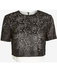 A.L.C. Thompson Floral Lace Crop Top Blackwhite - Lyst