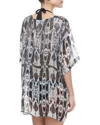Marie France Van Damme Beaded Batik Chiffon Coverup Top - Lyst