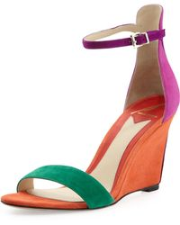 B Brian Atwood - Roberta Suede Wedge Sandal Orange - Lyst