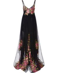 Marchesa Embroidered Tulle Empire Ball Gown - Lyst