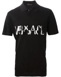 Versace Sequin Logo Polo Shirt - Lyst