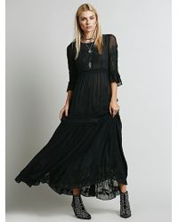 Free People White Romance Embroidered Maxi - Lyst