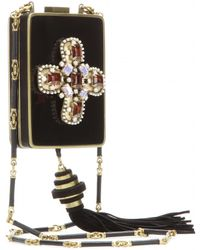 Tory Burch Embellished Box Clutch with Shoulder Strap - Lyst