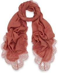 Valentino Pink Romantic Lace Border Wool Scarf - Lyst