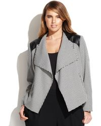 Calvin Klein Plus Size Faux-leather-trim Houndstooth Jacket - Lyst