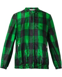 Preen Line Ellis Embroidered Checked Bomber Jacket green - Lyst