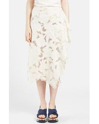 Marni Women'S Faux Wrap Lace Midi Skirt - Lyst