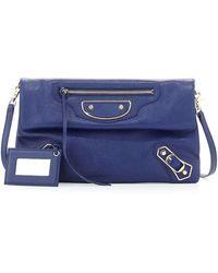 Balenciaga Classic Metallic Edge Envelope Clutch Bag blue - Lyst