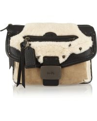 Coach Rhyder Shearling Suede and Texturedleather Clutch - Lyst