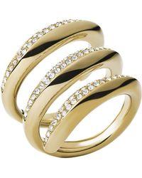 Michael Kors Goldtone Glitz Coil Ring - Lyst