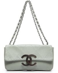 Chanel Pre-Owned Quilted Cc East West Flap Bag - Lyst