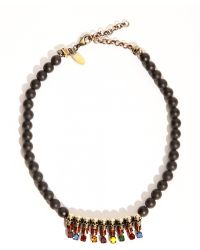 Pixie Market Black Agate Beaded Skull Necklace - Lyst