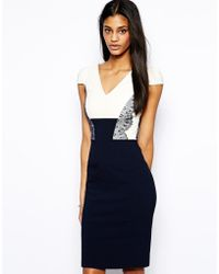 Hybrid Pencil Dress with Lace Panelling - Lyst