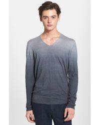 John Varvatos Ombre Silk & Cashmere V-Neck Sweater gray - Lyst