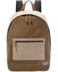Skagen - 'kroyer' Neutral Colorblock Waxed Canvas Twill Backpack - Lyst