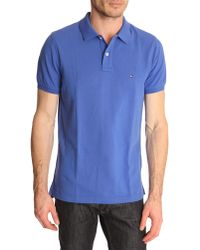 Tommy Hilfiger Slim Fit Dazzling Blue Polo Shirt Contrasting Collar - Lyst