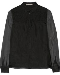 Jason Wu Lace-trimmed Silk-organza Shirt - Lyst