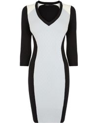 Karen Millen Colourblock Knit Dress - Lyst