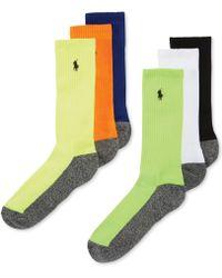 Polo Ralph Lauren Ralph Lauren Mens Socks Athletic Contrast Sole Crew 6pack - Lyst